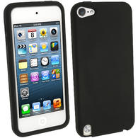 iGadgitz Black Silicone Skin Case Cover for Apple iPod Touch 6th & 5th Generation + Screen Protector