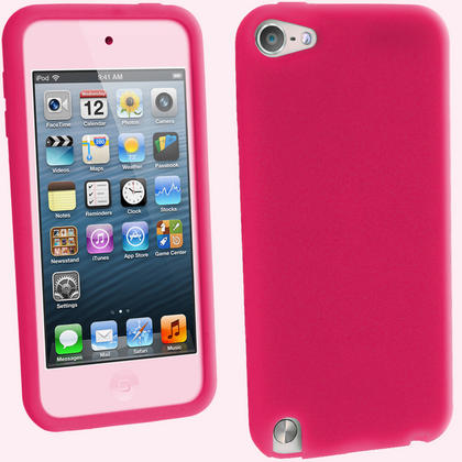 iGadgitz Pink Silicone Skin Case Cover for Apple iPod Touch 6th & 5th Generation + Screen Protector Thumbnail 1