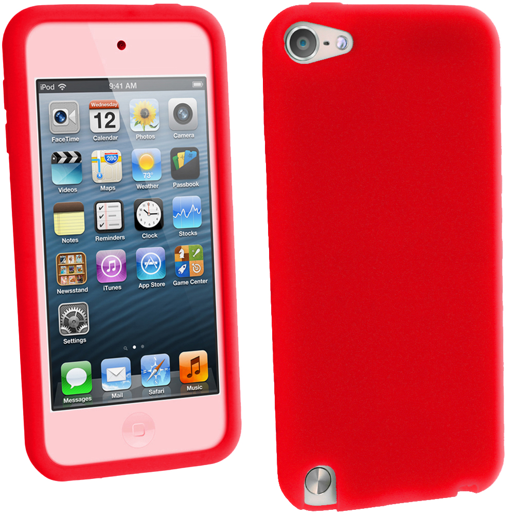 iGadgitz Red Silicone Skin Case Cover for Apple iPod Touch 6th & 5th Generation + Screen Protector