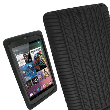 iGadgitz Black Silicone Skin Case with Tyre Tread Design for Google Nexus 7 (1st Gen released Jul 12) + Screen Protector Thumbnail 1