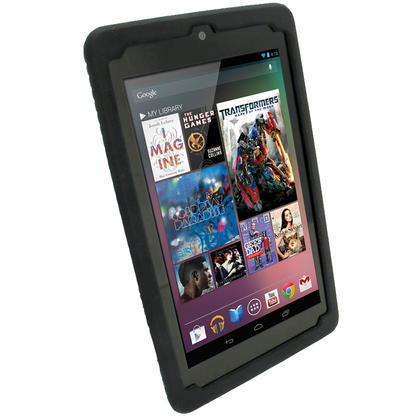 iGadgitz Black Silicone Skin Case with Tyre Tread Design for Google Nexus 7 (1st Gen released Jul 12) + Screen Protector Thumbnail 2