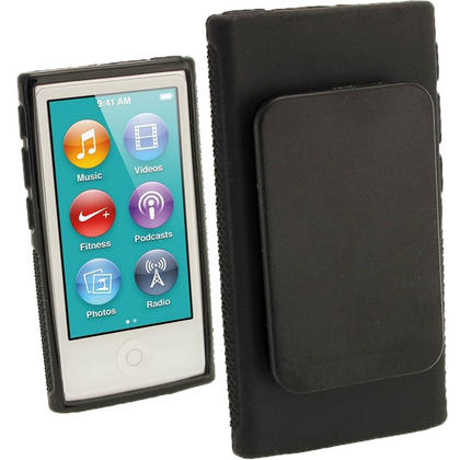 iGadgitz Black 'Clip'n'Go' Gel Case for Apple iPod Nano 7th Gen with Integrated Sports Clip + Screen Protector Thumbnail 1