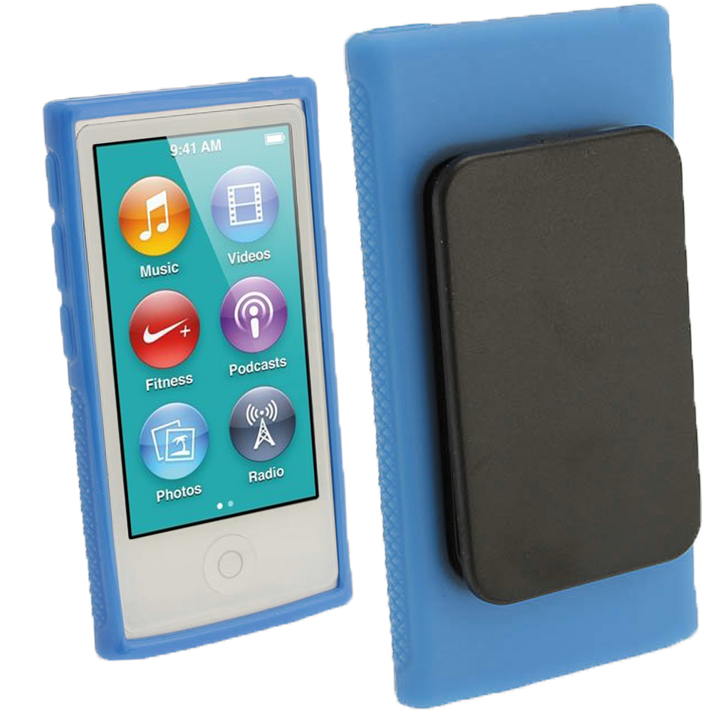 iGadgitz Blue 'Clip'n'Go' Gel Case for Apple iPod Nano 7th Gen with Integrated Sports Clip + Screen Protector