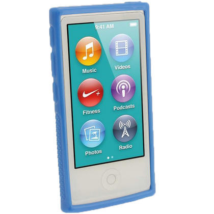 iGadgitz Blue 'Clip'n'Go' Gel Case for Apple iPod Nano 7th Gen with Integrated Sports Clip + Screen Protector Thumbnail 2