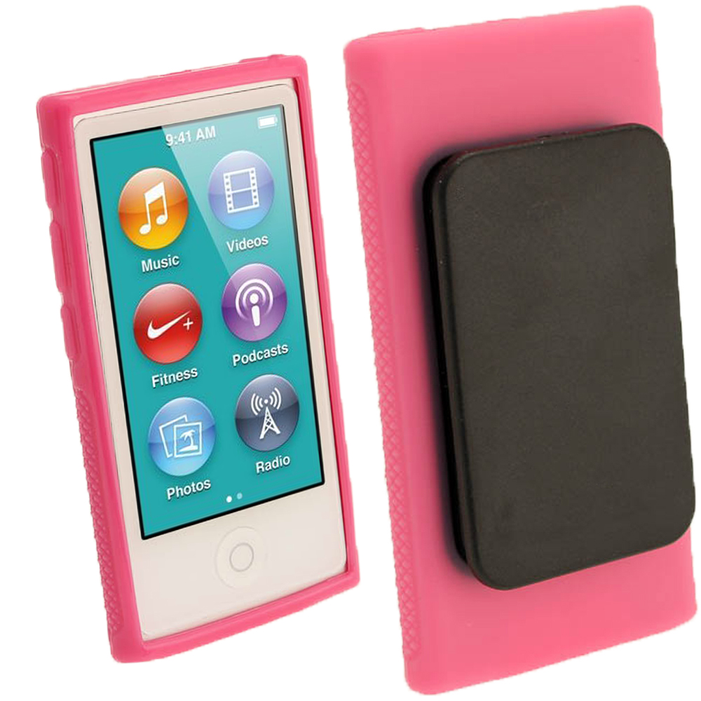 iGadgitz Pink 'Clip'n'Go' Gel Case for Apple iPod Nano 7th Gen with Integrated Sports Clip + Screen Protector