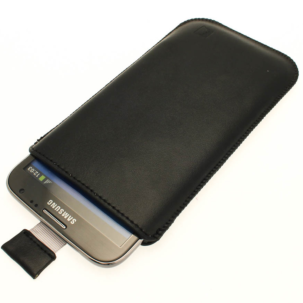iGadgitz Black Leather Pouch Case Cover for Samsung Galaxy ...