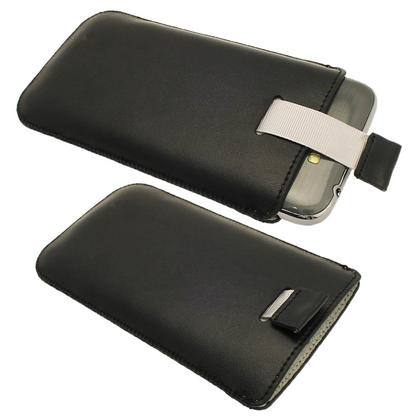 iGadgitz Black Leather Pouch Case Cover for Samsung Galaxy Note 2 II N7100 Android Smartphone Tablet Thumbnail 2