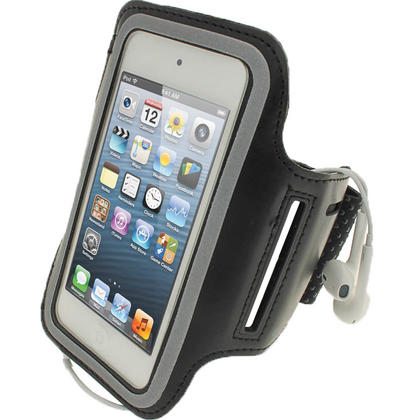 iGadgitz Black Reflective Neoprene Sports Gym Jogging Armband for Apple iPod Touch 6th & 5th Generation Thumbnail 1