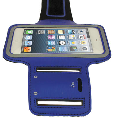 iGadgitz Blue Reflective Neoprene Sports Gym Jogging Armband for Apple iPod Touch 6th & 5th Generation Thumbnail 3