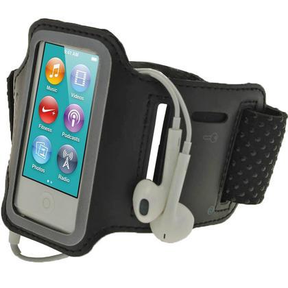 iGadgitz Black Reflective Anti-Slip Neoprene Sports Gym Jogging Armband for Apple iPod Nano 7th Generation 16GB Thumbnail 1
