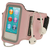 iGadgitz Pink Reflective Anti-Slip Neoprene Sports Gym Jogging Armband for Apple iPod Nano 7th Generation 16GB