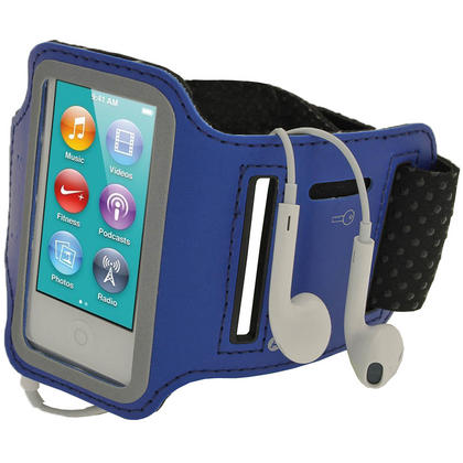 iGadgitz Blue Reflective Anti-Slip Neoprene Sports Gym Jogging Armband for Apple iPod Nano 7th Generation 16GB Thumbnail 1