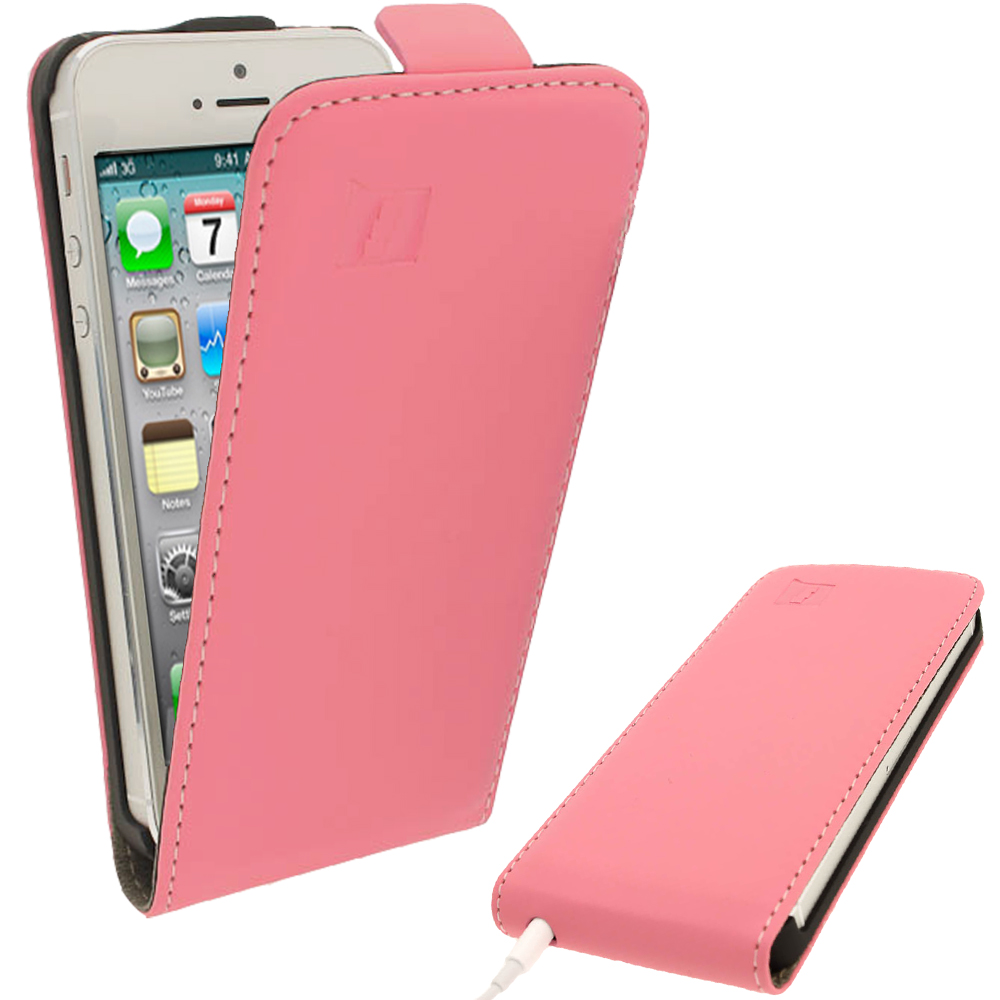 iGadgitz Pink PU Leather Flip Case for SE, 5S & 5 + Screen Protector (Not suitable for iPhone 5C)