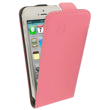iGadgitz Pink PU Leather Flip Case for SE, 5S & 5 + Screen Protector (Not suitable for iPhone 5C) Thumbnail 3