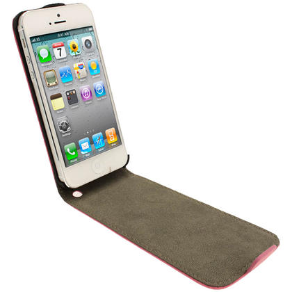 iGadgitz Pink PU Leather Flip Case for SE, 5S & 5 + Screen Protector (Not suitable for iPhone 5C) Thumbnail 2