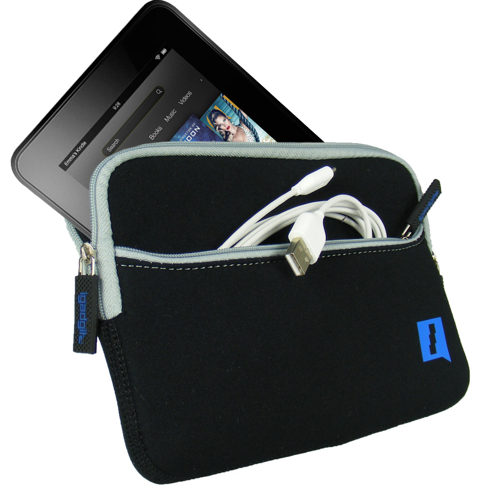 """iGadgitz Black Neoprene Sleeve Case with Front Pocket for Amazon Kindle Fire HD HDX 7"""" (2012 & 2013 Versions)"""