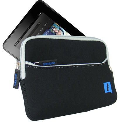"iGadgitz Black Neoprene Sleeve Case with Front Pocket for Amazon Kindle Fire HD HDX 7"" (2012 & 2013 Versions) Thumbnail 2"