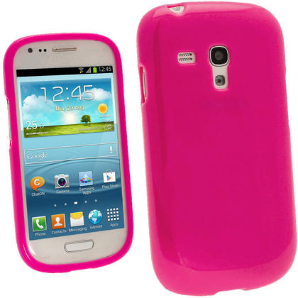 iGadgitz Hot Pink Glossy Gel Case for Samsung Galaxy S3 III Mini I8190 + Screen Protector Thumbnail 1