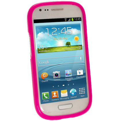 iGadgitz Hot Pink Glossy Gel Case for Samsung Galaxy S3 III Mini I8190 + Screen Protector Thumbnail 2