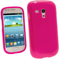 iGadgitz Hot Pink Glossy Gel Case for Samsung Galaxy S3 III Mini I8190 + Screen Protector
