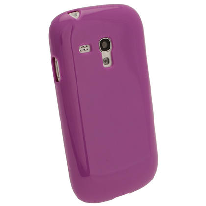 iGadgitz Purple Glossy Gel Case for Samsung Galaxy S3 III Mini I8190 + Screen Protector Thumbnail 3