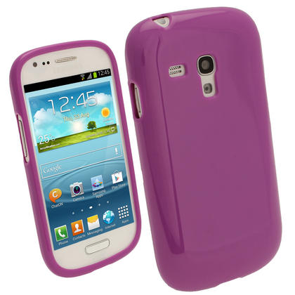 iGadgitz Purple Glossy Gel Case for Samsung Galaxy S3 III Mini I8190 + Screen Protector Thumbnail 1