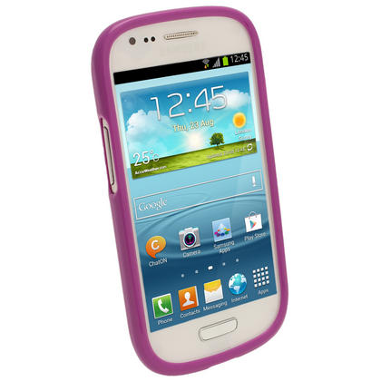 iGadgitz Purple Glossy Gel Case for Samsung Galaxy S3 III Mini I8190 + Screen Protector Thumbnail 2