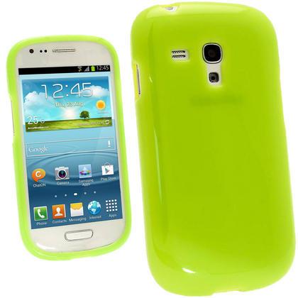 iGadgitz Green Glossy Gel Case for Samsung Galaxy S3 III Mini I8190 + Screen Protector Thumbnail 1
