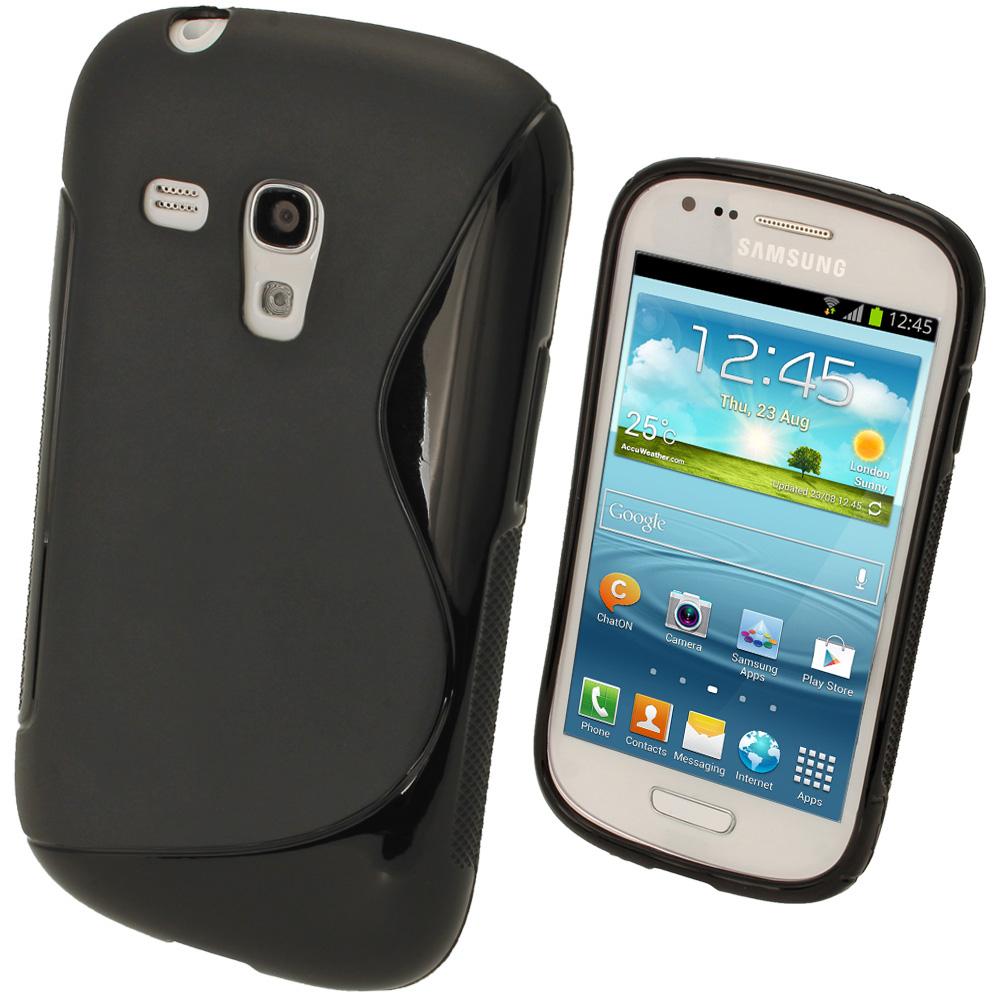 iGadgitz Dual Tone Black Gel Case for Samsung Galaxy S3 III Mini I8190 + Screen Protector