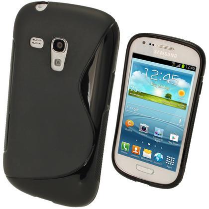 iGadgitz Dual Tone Black Gel Case for Samsung Galaxy S3 III Mini I8190 + Screen Protector Thumbnail 1
