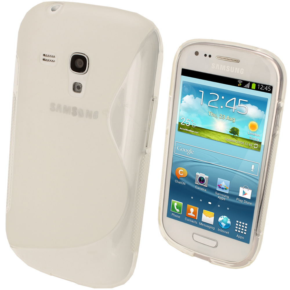 iGadgitz Dual Tone Clear Gel Case for Samsung Galaxy S3 III Mini I8190 + Screen Protector