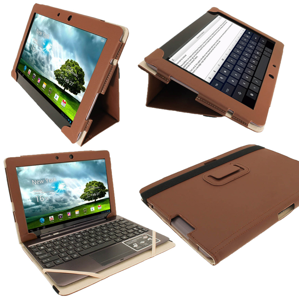 "iGadgitz Brown Portfolio PU Leather Case Cover for Asus Transformer Pad & Keyboard Dock TF700 TF700T Infinity 10.1"" Tab"