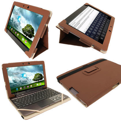 "iGadgitz Brown Portfolio PU Leather Case Cover for Asus Transformer Pad & Keyboard Dock TF700 TF700T Infinity 10.1"" Tab Thumbnail 1"