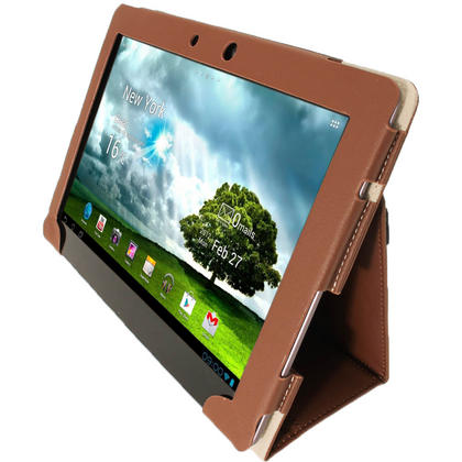 "iGadgitz Brown Portfolio PU Leather Case Cover for Asus Transformer Pad & Keyboard Dock TF700 TF700T Infinity 10.1"" Tab Thumbnail 4"