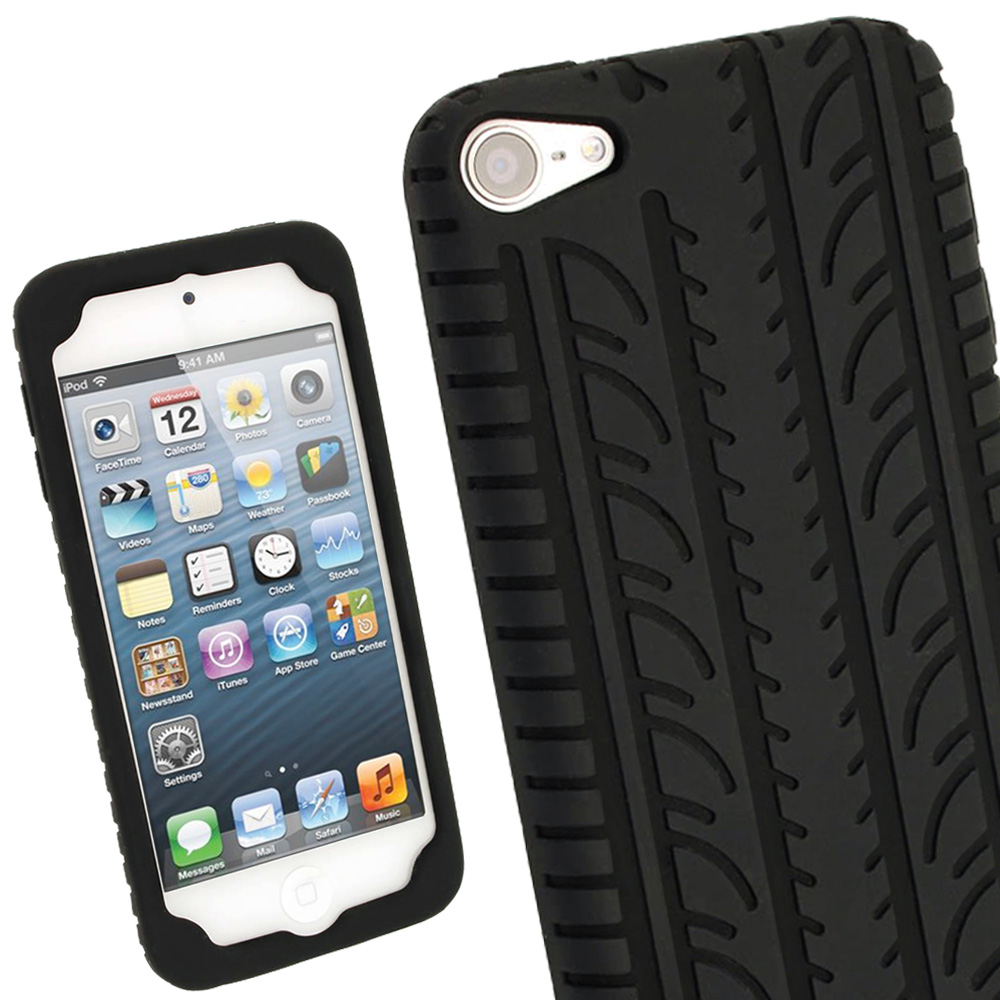 iGadgitz Black Silicone Skin Case Cover Tyre Tread Design for Apple iPod Touch 6th & 5th Generation + Screen Protector