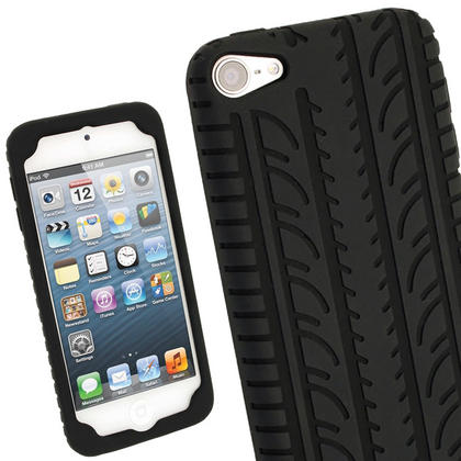 iGadgitz Black Silicone Skin Case Cover Tyre Tread Design for Apple iPod Touch 6th & 5th Generation + Screen Protector Thumbnail 1