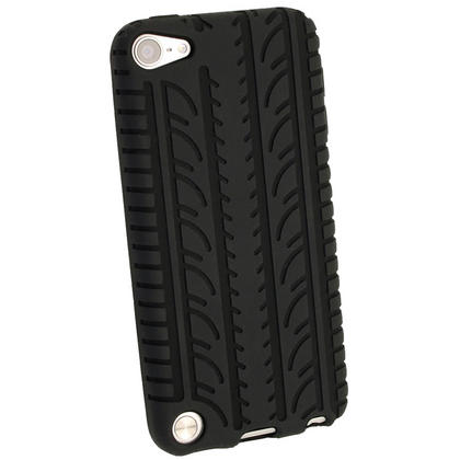 iGadgitz Black Silicone Skin Case Cover Tyre Tread Design for Apple iPod Touch 6th & 5th Generation + Screen Protector Thumbnail 3