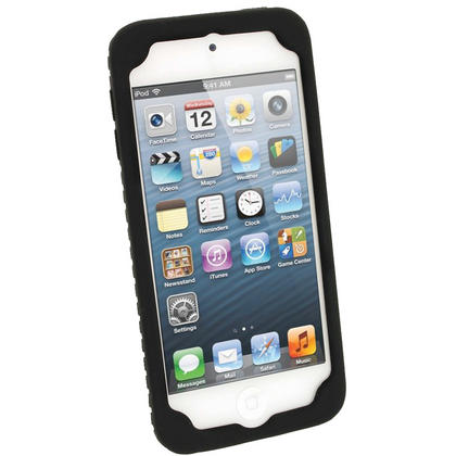iGadgitz Black Silicone Skin Case Cover Tyre Tread Design for Apple iPod Touch 6th & 5th Generation + Screen Protector Thumbnail 2