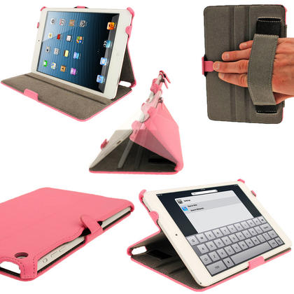 iGadgitz Pink PU Leather Case for Apple iPad Mini 16GB 32GB 64GB. With Sleep/Wake Function & Integrated Hand Strap Thumbnail 1