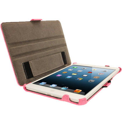 iGadgitz Pink PU Leather Case for Apple iPad Mini 16GB 32GB 64GB. With Sleep/Wake Function & Integrated Hand Strap Thumbnail 2