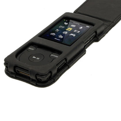 iGadgitz Black Genuine Leather Case for Sony Walkman NWZ-E473 NWZ-E474 NWZ-E574 NWZ-E575 E Series MP3 Player Thumbnail 3