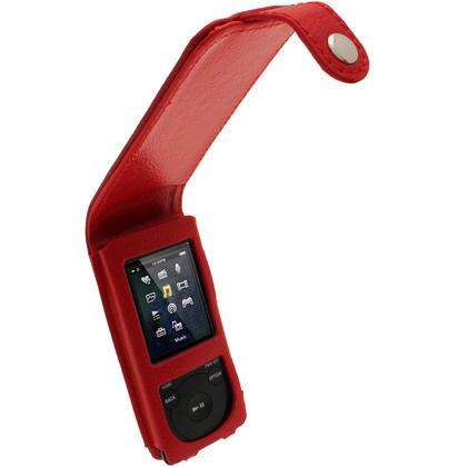 iGadgitz Red Leather Case for Sony Walkman NWZ-E473 NWZ-E474 NWZ-E574 NWZ-E575 E Series MP3 Player Thumbnail 1