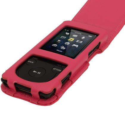 iGadgitz Pink Leather Case for Sony Walkman NWZ-E473 NWZ-E474 NWZ-E574 NWZ-E575 E Series MP3 Player Thumbnail 3