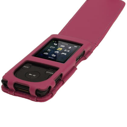 iGadgitz Purple PU Leather Case for Sony Walkman NWZ-E473 NWZ-E474 NWZ-E574 NWZ-E575 E Series MP3 Player Thumbnail 3