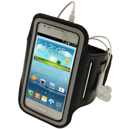 iGadgitz Black Reflective Anti-Slip Sports Armband for Samsung Galaxy S3 III Mini I8190 (NOT SUITABLE FOR S3 i9300) Thumbnail 1