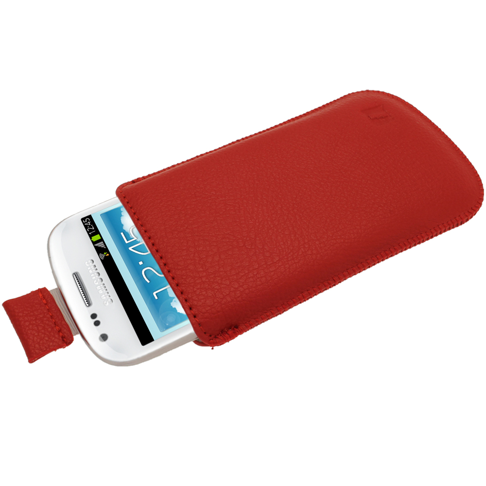 iGadgitz Red Leather Pouch Case Cover for Samsung Galaxy S3 III Mini I8190 Android Smartphone Mobile Phone