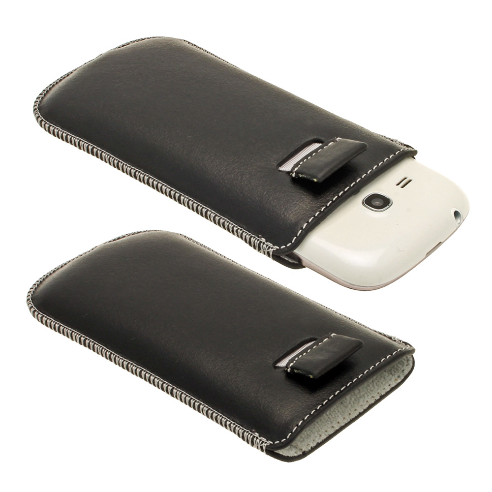 iGadgitz Black Genuine Leather Pouch Case with Elasticated Pull Tab Release System for Samsung Galaxy S3 III Mini I8190