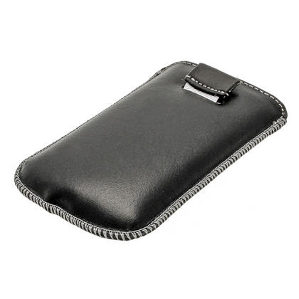 iGadgitz Black Genuine Leather Pouch Case with Elasticated Pull Tab Release System for Samsung Galaxy S3 III Mini I8190 Thumbnail 3