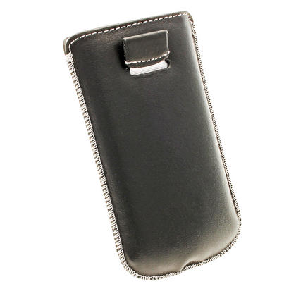 iGadgitz Black Genuine Leather Pouch Case with Elasticated Pull Tab Release System for Samsung Galaxy S3 III Mini I8190 Thumbnail 4