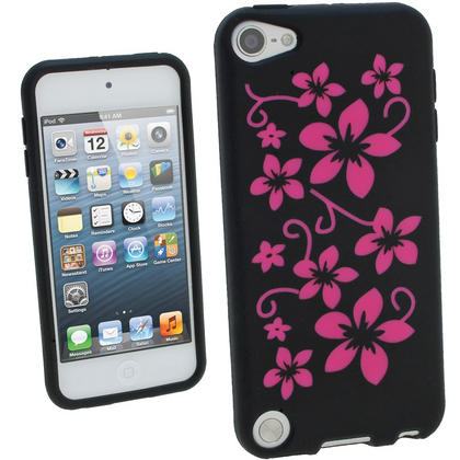 iGadgitz Black & Pink Flowers Silicone Skin Case Cover for Apple iPod Touch 6th & 5th Generation + Screen Protector Thumbnail 1